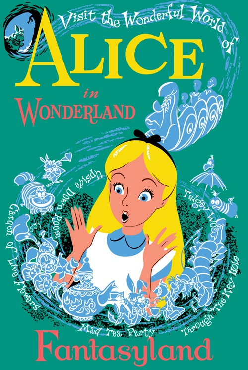 Retro Disney Poster, Alice in Wonderland